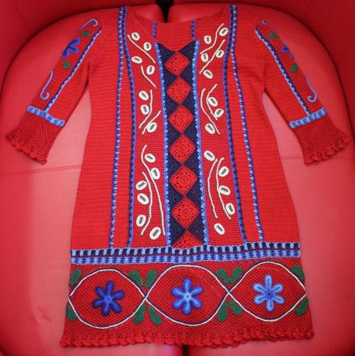 sukienka z kordonka na szydełku #kordonek #StylPeruwiański #sukienka #szydełko