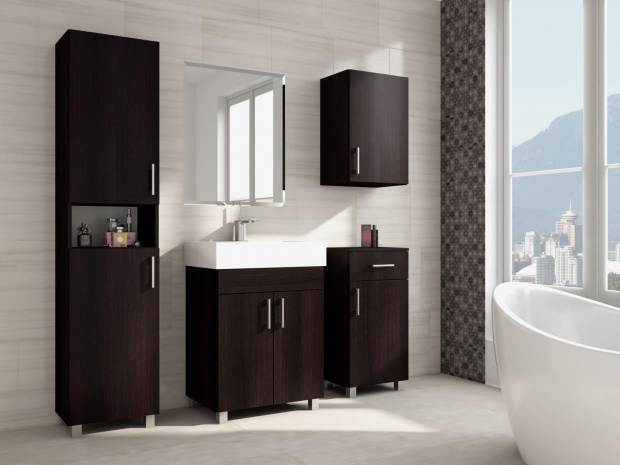 Tall freestanding bathroom cabinet with 2 doors 300mm wide for Bathroom cabinets 1800mm