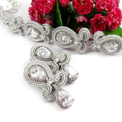 Biżuteria ślubna sutasz, komplet z kryształami novia blanca